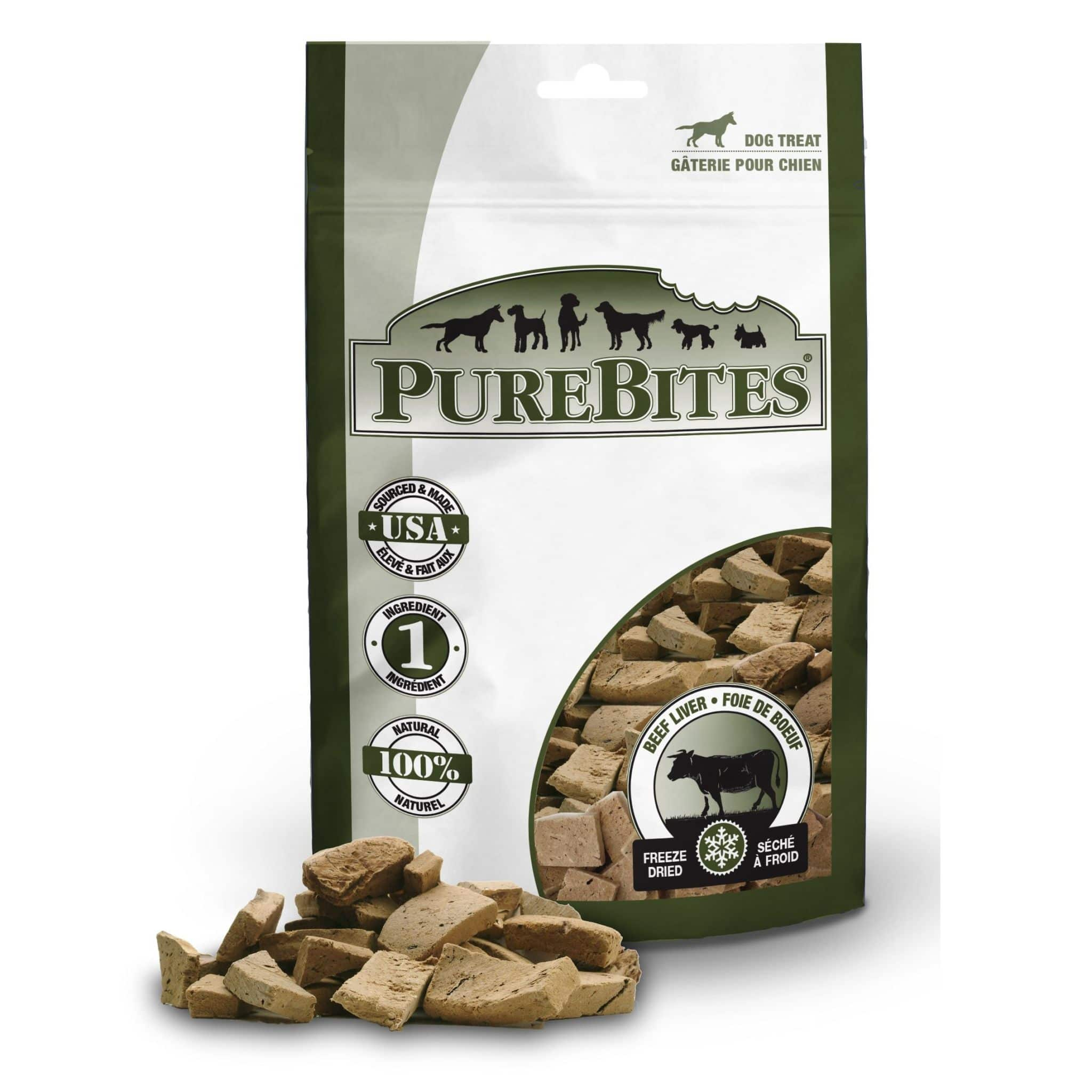 Front Shot Bag With Pile Freeze Dried Beef Liver Dog Treats