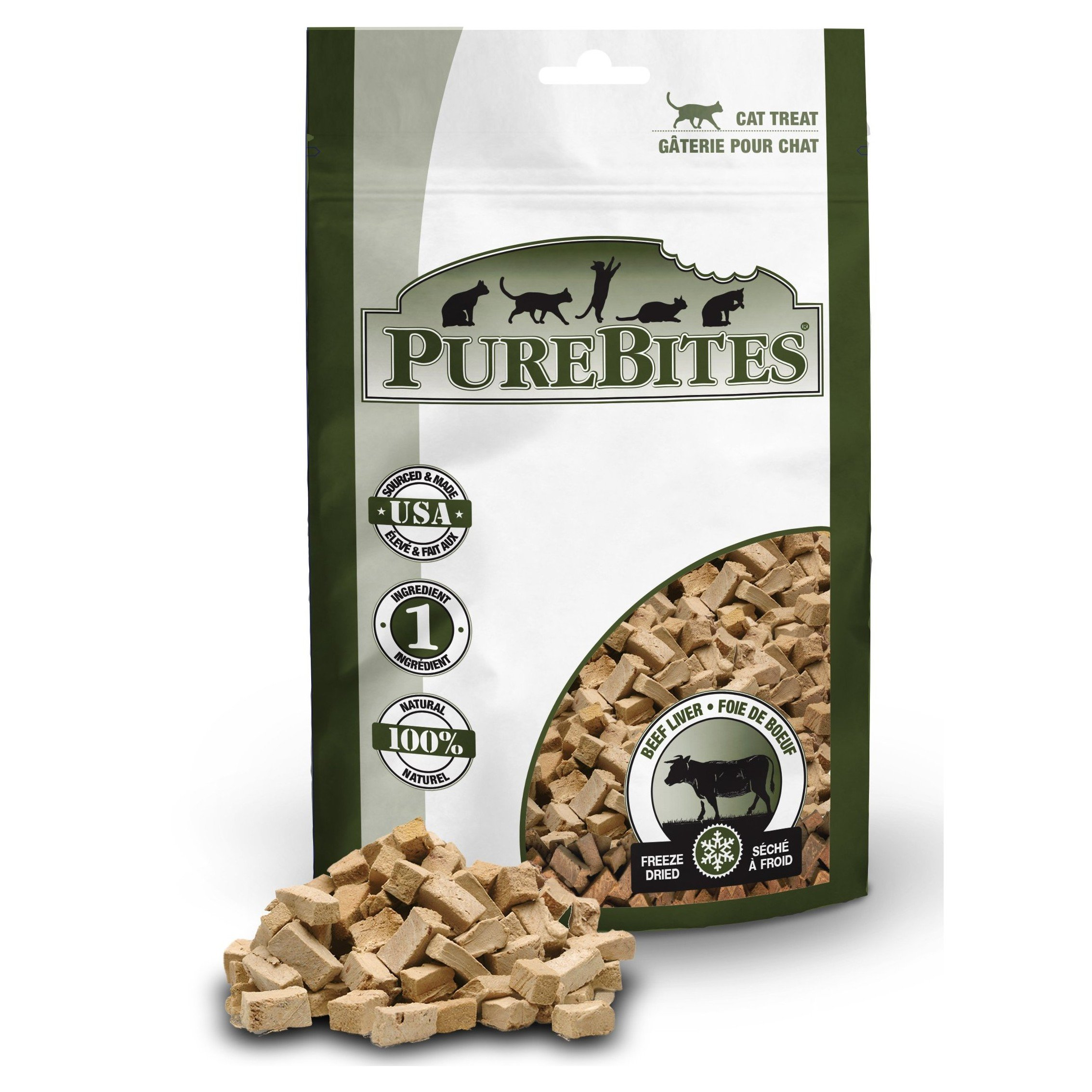 Front Shot Bag With Pile Freeze Dried Beef Liver Cat Treats