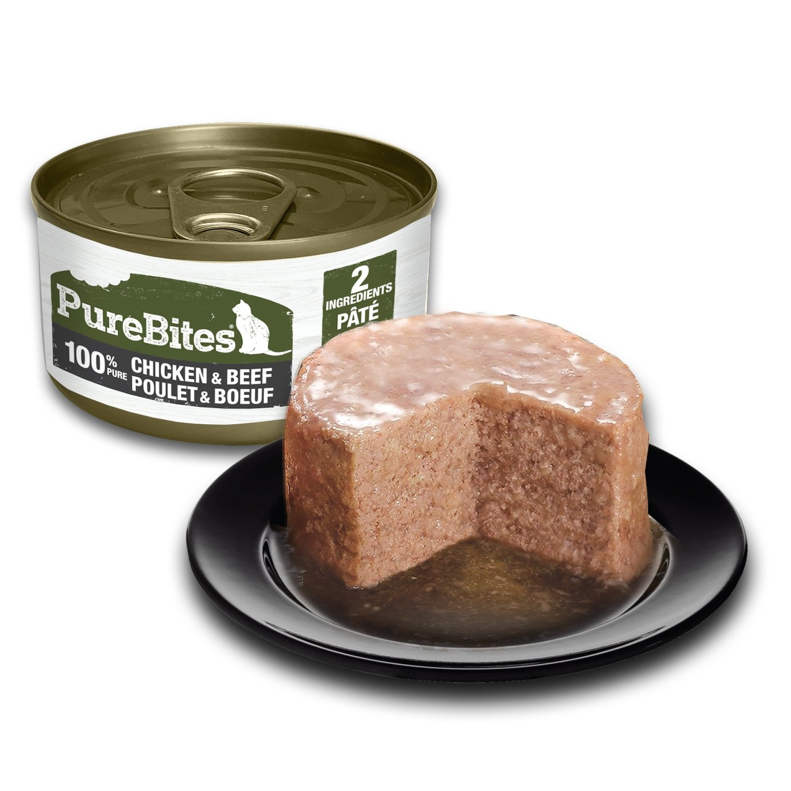 Front Shot Can With Plate Cat Paté Chicken and Beef