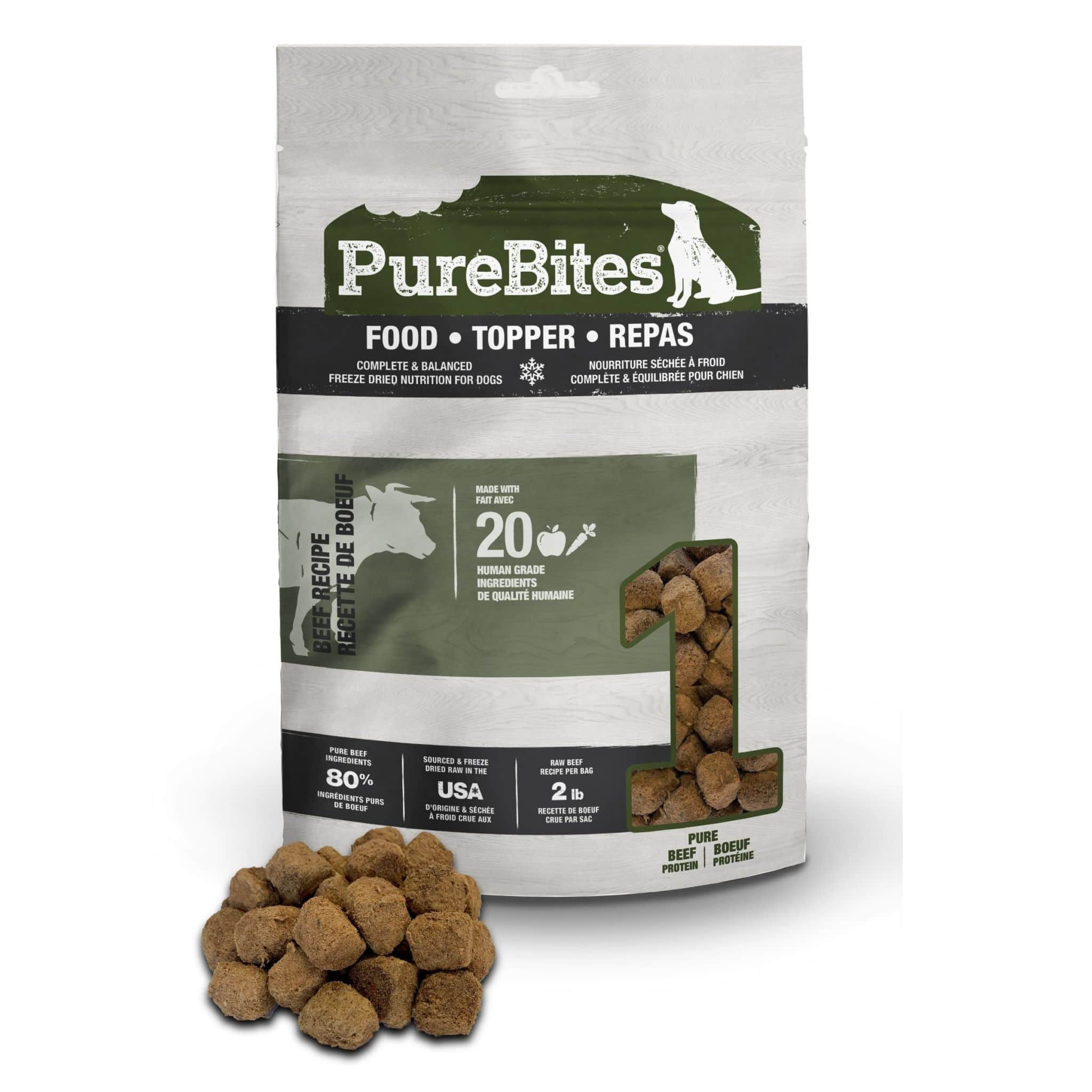 Front Shot Bag With Pile Food Topper Freeze Dried Beef Recipe For Dogs