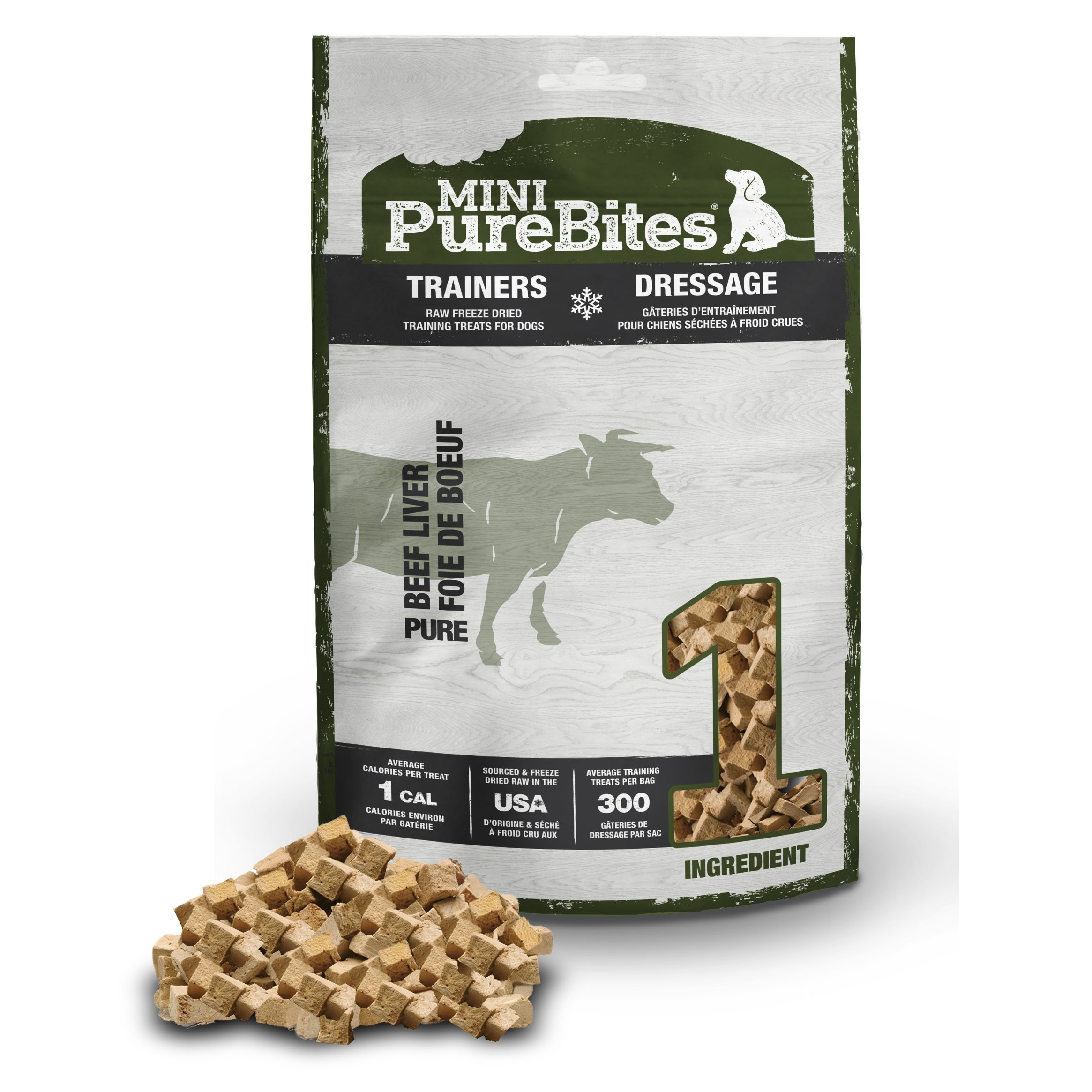 Front Shot Bag With Pile Mini Trainers Freeze Dried Beef Liver Dog Treats