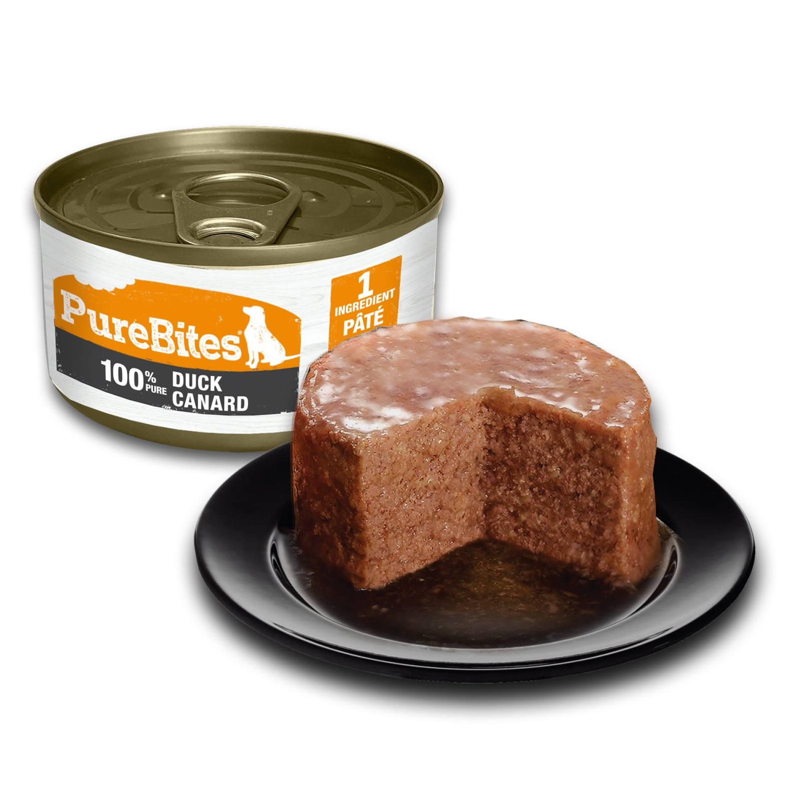 Front Shot Can With Plate Dog Paté Duck Bilingual