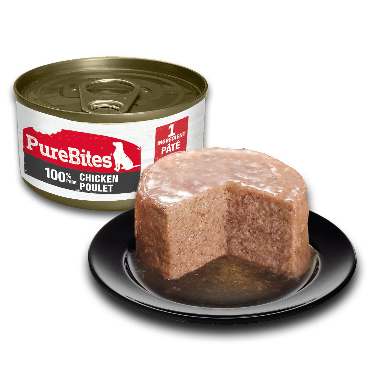Front Shot Can With Plate Dog Paté Chicken Bilingual