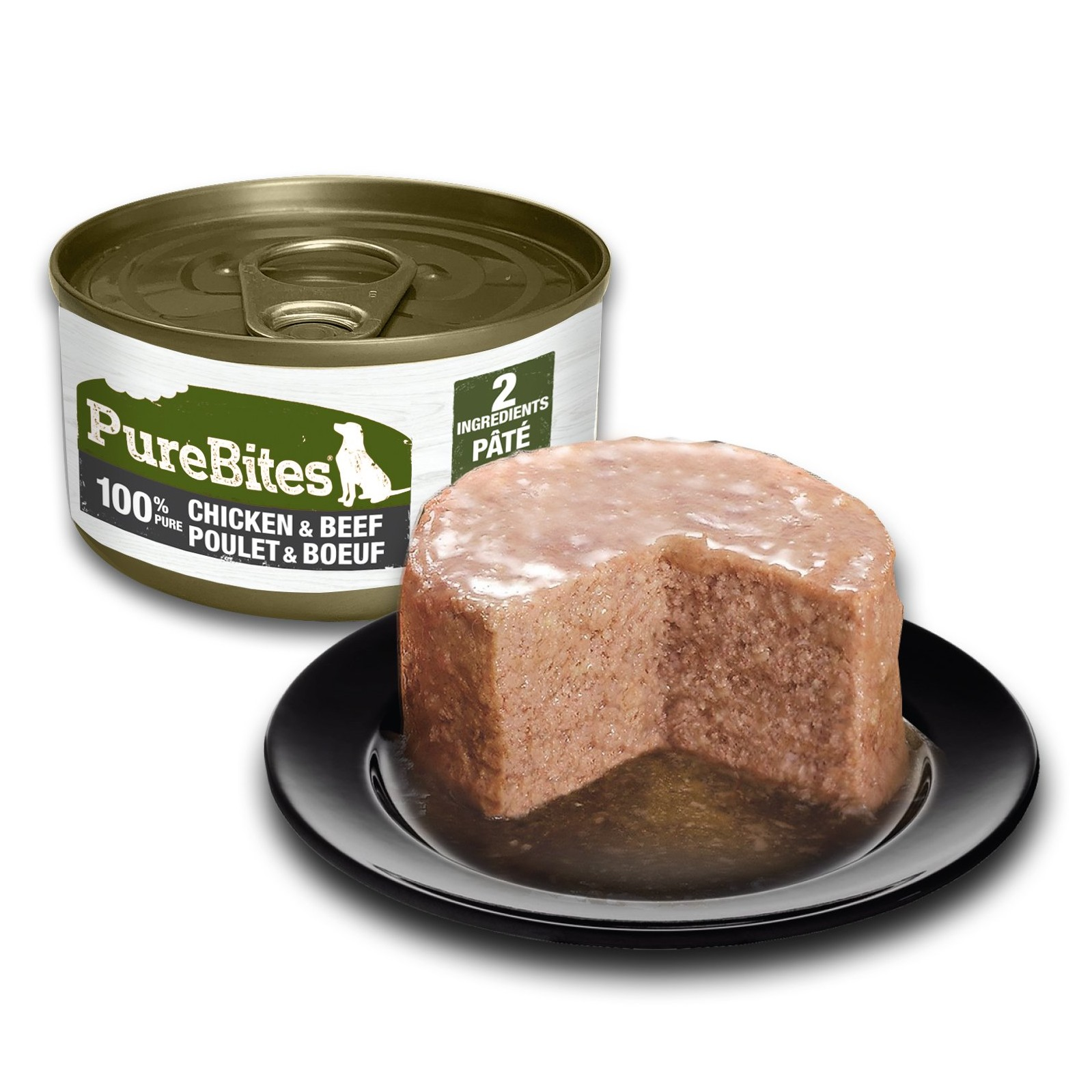 Front Shot Can With Plate Dog Paté Chicken and Beef Bilingual