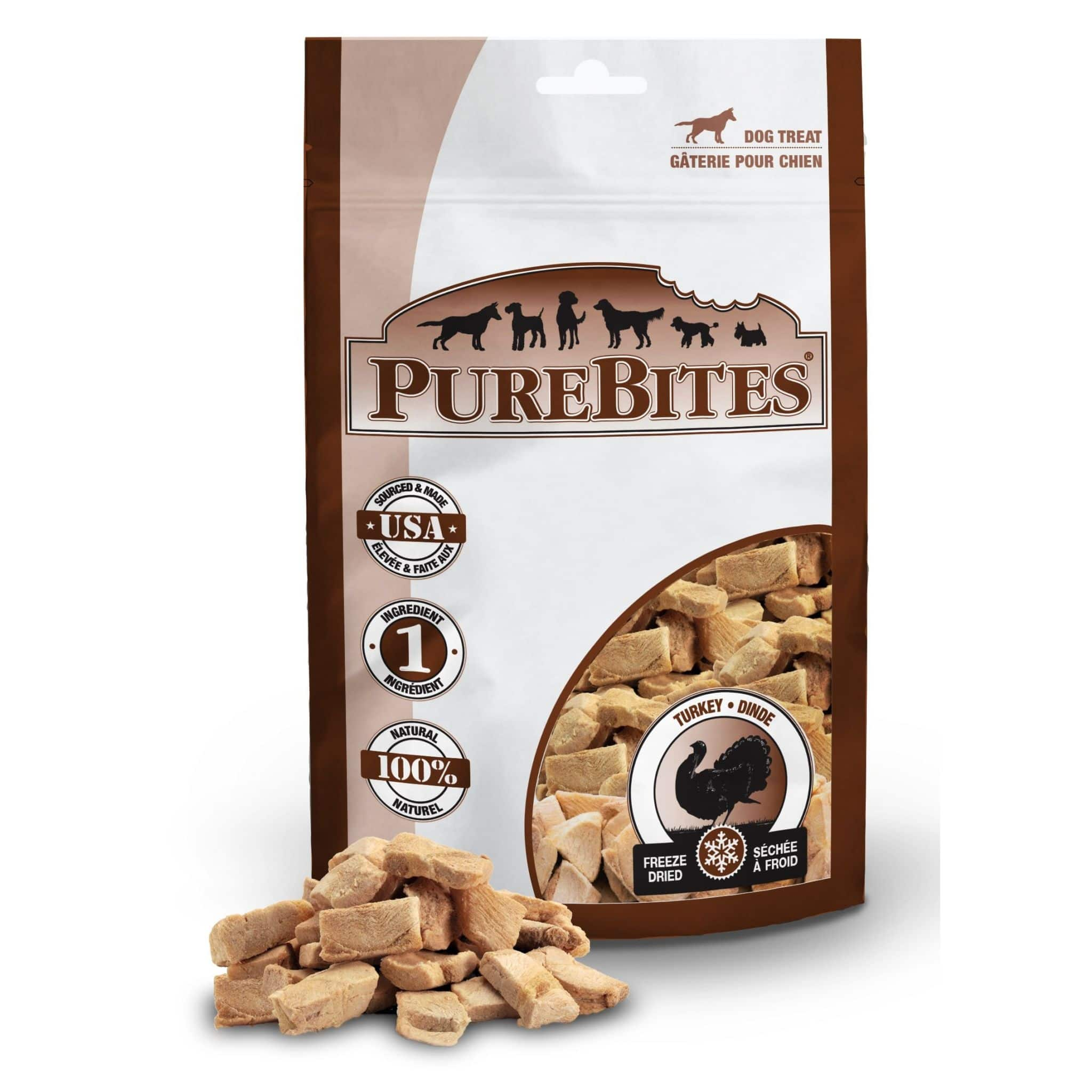 Front Shot Bag With Pile Freeze Dried Turkey Dog Treats
